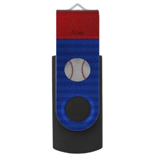 Personalized name blue stripes baseball USB flash drive