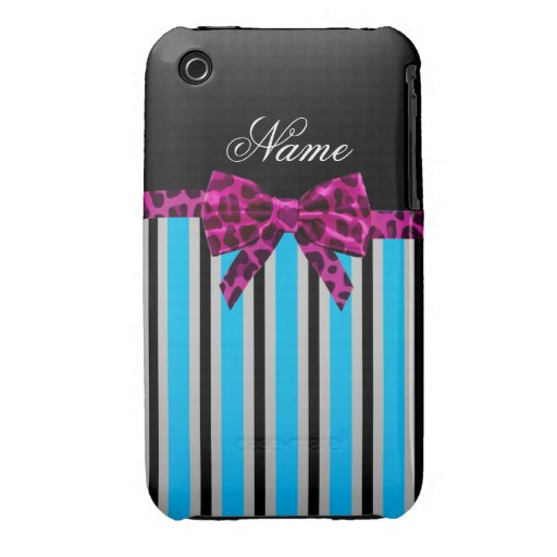 Personalized name blue stripes pink leopard bow iPhone 3 cases