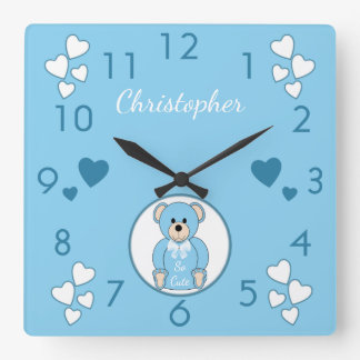 Personalized name Blue Teddy Bear baby Square Wall Clock