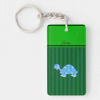 Personalized name blue turtle green stripes rectangular acrylic keychains