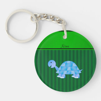 Personalized name blue turtle green stripes key chains