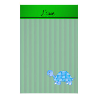 Personalized name blue turtle green stripes stationery paper