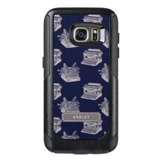 Personalized Name Blue Vintage Typewriter OtterBox Samsung Galaxy S7 Case