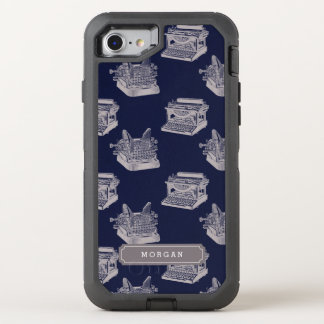 Personalized Name Blue Vintage Typewriter Pattern OtterBox Defender iPhone 8/7 Case