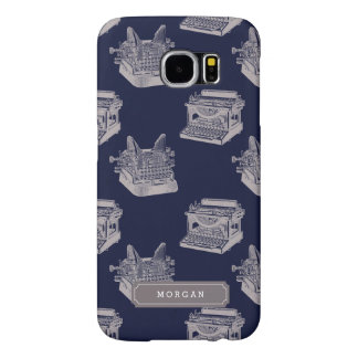 Personalized Name Blue Vintage Typewriter Pattern Samsung Galaxy S6 Cases