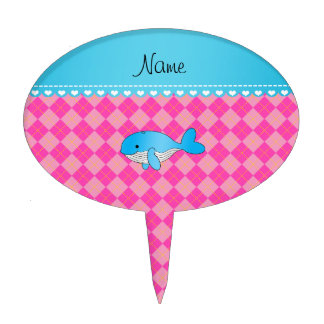 Personalized name blue whale pink argyle cake picks