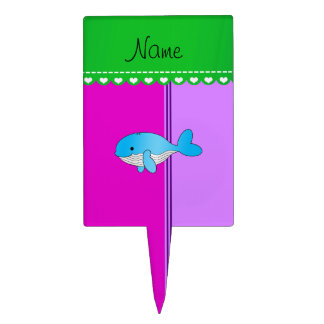 Personalized name blue whale pink purple stripes cake pick