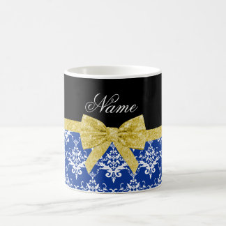 Personalized name blue white damask gold bow coffee mug