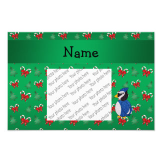 Personalized name bluejay green candy canes bows photo