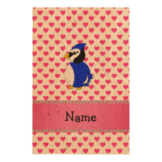 Personalized name bluejay pink hearts polka dots cork paper print