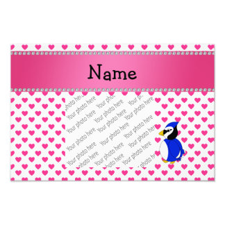 Personalized name bluejay pink hearts polka dots photographic print