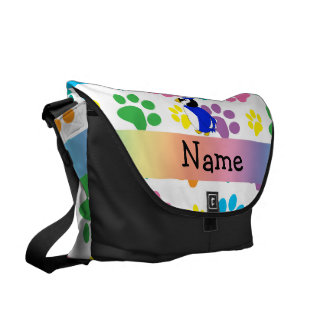 Personalized name bluejay rainbow paws courier bags