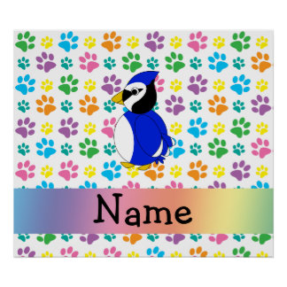 Personalized name bluejay rainbow paws posters