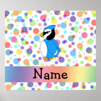 Personalized name bluejay rainbow polka dots print