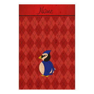 Personalized name bluejay red argyle cork paper prints