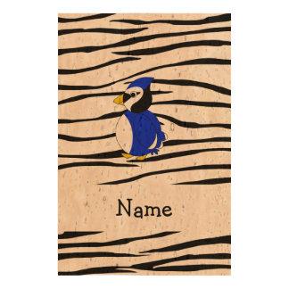 Personalized name bluejay zebra stripes cork paper prints