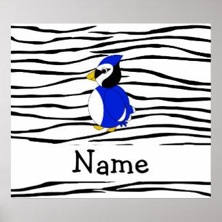 Personalized name bluejay zebra stripes posters