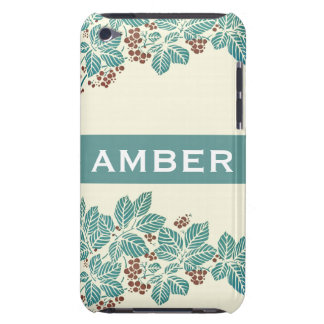 Personalized Name Botanical Ivy Berries Jade Teal iPod Case-Mate Case