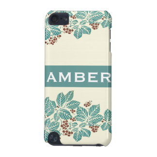 Personalized Name Botanical Ivy Berries Jade Teal iPod Touch (5th Generation) Cases