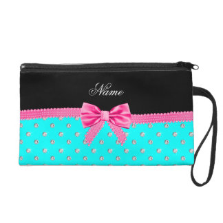 Personalized name bright aqua diamonds pink bow wristlet clutches
