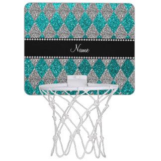 Personalized name bright aqua glitter argyle mini basketball hoop