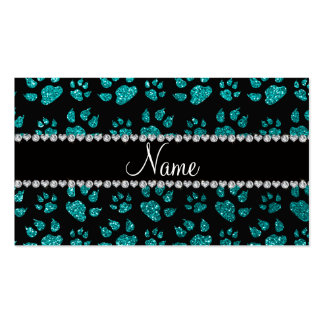 Personalized name bright aqua glitter cat paws business card