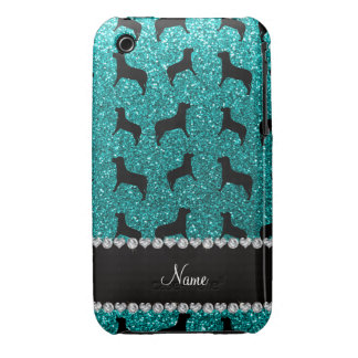 Personalized name bright aqua glitter dogs iPhone 3 covers