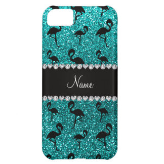 Personalized name bright aqua glitter flamingos iPhone 5C case