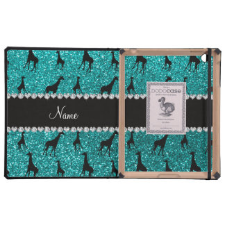 Personalized name bright aqua glitter giraffes iPad folio cases