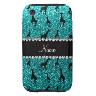 Personalized name bright aqua glitter giraffes iPhone 3 tough case