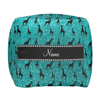 Personalized name bright aqua glitter giraffes cube pouf