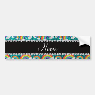 Personalized name bright aqua glitter rainbows bumper sticker