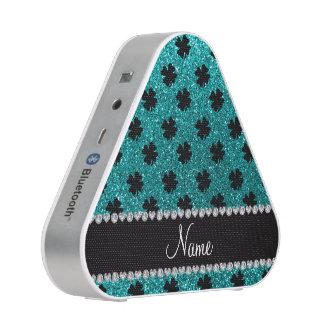 Personalized name bright aqua glitter shamrocks