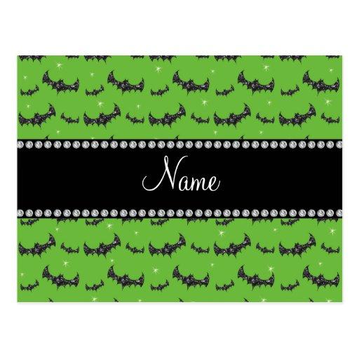 Personalized name bright green glitter bats postcard