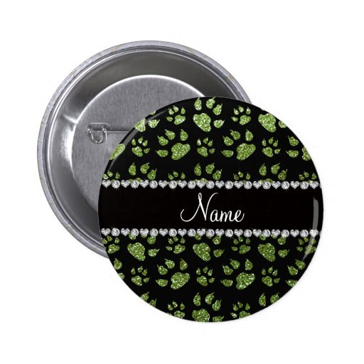 Personalized name bright green glitter cat paws buttons