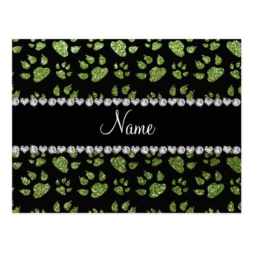 Personalized name bright green glitter cat paws postcard