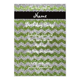 """Personalized name bright green glitter chevrons 5"""" x 7"""" invitation card"""