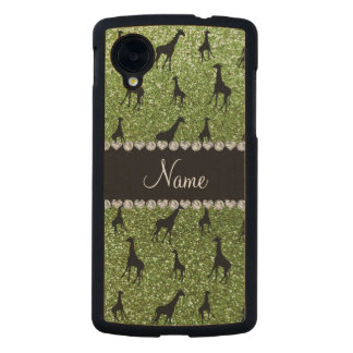 Personalized name bright green glitter giraffes carved® maple nexus 5 slim case
