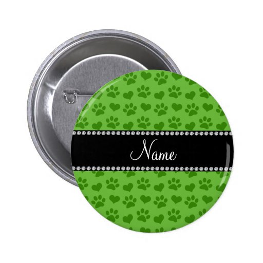Personalized name bright green hearts and paws buttons