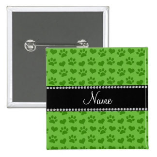 Personalized name bright green hearts and paws pin