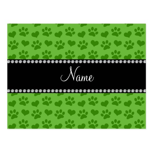 Personalized name bright green hearts and paws postcards
