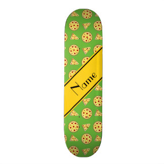 Personalized name bright green pizzas 19.7 cm skateboard deck
