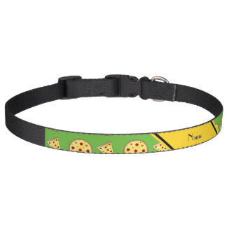 Personalized name bright green pizzas pet collar