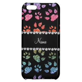 Personalized name bright rainbow glitter cat paws cover for iPhone 5C