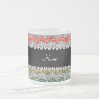 Personalized name bright rainbow glitter chevrons mug