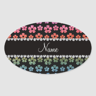 Personalized name bright rainbow glitter flowers oval stickers