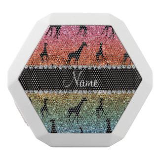 Personalized name bright rainbow glitter giraffes white boombot rex bluetooth speaker