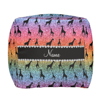Personalized name bright rainbow glitter giraffes cube pouf