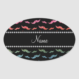 Personalized name bright rainbow glitter mustaches oval sticker