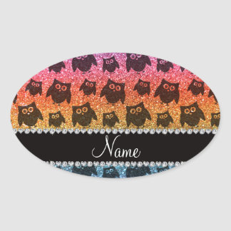 Personalized name bright rainbow glitter owls oval stickers